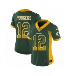 Women's Nike Green Bay Packers #12 Aaron Rodgers Limited Green Rush Drift Fashion NFL Jersey