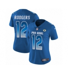 Women's Nike Green Bay Packers #12 Aaron Rodgers Limited Royal Blue NFC 2019 Pro Bowl NFL Jersey