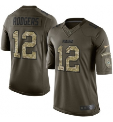 Youth Nike Green Bay Packers #12 Aaron Rodgers Elite Green Salute to Service NFL Jersey