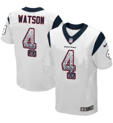 Men's Nike Houston Texans #4 Deshaun Watson Elite White Road Drift Fashion NFL Jersey