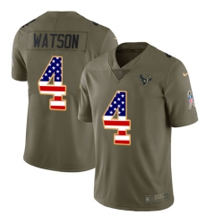 Youth Nike Houston Texans #4 Deshaun Watson Limited Olive/USA Flag 2017 Salute to Service NFL Jersey