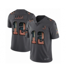 Men's Indianapolis Colts #12 Andrew Luck Limited Black USA Flag 2019 Salute To Service Football Jersey