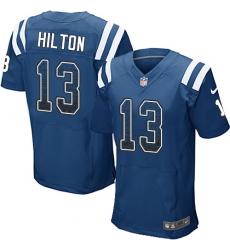 Men's Nike Indianapolis Colts #13 T.Y. Hilton Elite Royal Blue Home Drift Fashion NFL Jersey