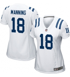 Women's Nike Indianapolis Colts #18 Peyton Manning Game White NFL Jersey