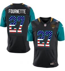 Men's Nike Jacksonville Jaguars #27 Leonard Fournette Elite Black Alternate USA Flag Fashion NFL Jersey
