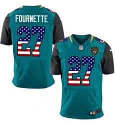 Men's Nike Jacksonville Jaguars #27 Leonard Fournette Elite Teal Green Home USA Flag Fashion NFL Jersey