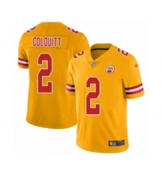 Youth Kansas City Chiefs #2 Dustin Colquitt Limited Gold Inverted Legend Football Jersey