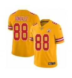 Men's Kansas City Chiefs #88 Tony Gonzalez Limited Gold Inverted Legend Football Jersey
